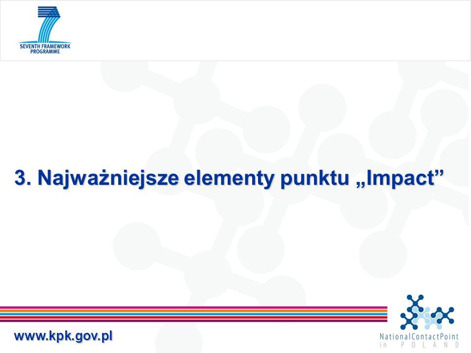 www.kpk.gov.pl 3. Najważniejsze elementy punktu Impact
