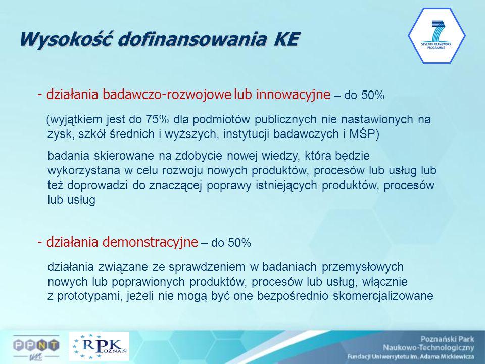 Wysokość dofinansowania KE - działania badawczo-rozwojowe lub innowacyjne – do 50% (wyjątkiem jest do 75% dla podmiotów publicznych nie nastawionych n