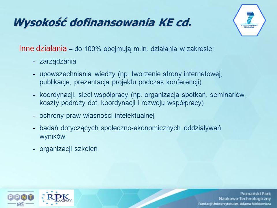 Inne działania – do 100% obejmują m.in. działania w zakresie: -zarządzania -upowszechniania wiedzy (np. tworzenie strony internetowej, publikacje, pre