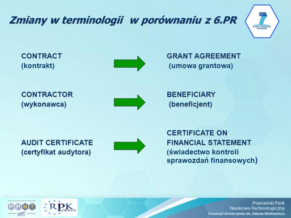 Zmiany w terminologii w porównaniu z 6.PR CONTRACTGRANT AGREEMENT (kontrakt) (umowa grantowa) CONTRACTORBENEFICIARY (wykonawca) (beneficjent) CERTIFIC