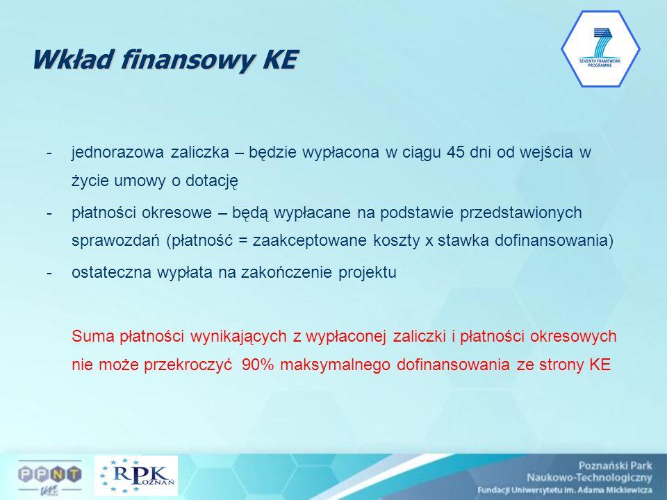 Wkład finansowy KE -jednorazowa zaliczka – będzie wypłacona w ciągu 45 dni od wejścia w życie umowy o dotację -płatności okresowe – będą wypłacane na
