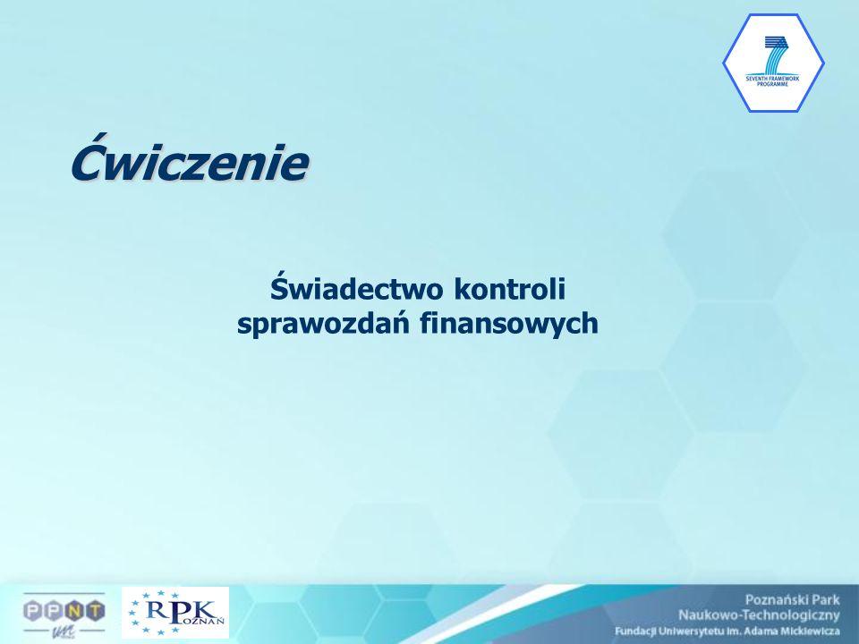 Ćwiczenie Świadectwo kontroli sprawozdań finansowych