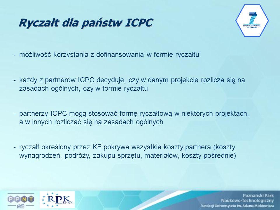 Ryczałt dla państw ICPC -możliwość korzystania z dofinansowania w formie ryczałtu -każdy z partnerów ICPC decyduje, czy w danym projekcie rozlicza się