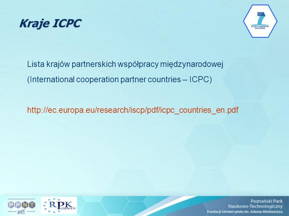 Kraje ICPC Lista krajów partnerskich współpracy międzynarodowej (International cooperation partner countries – ICPC) http://ec.europa.eu/research/iscp