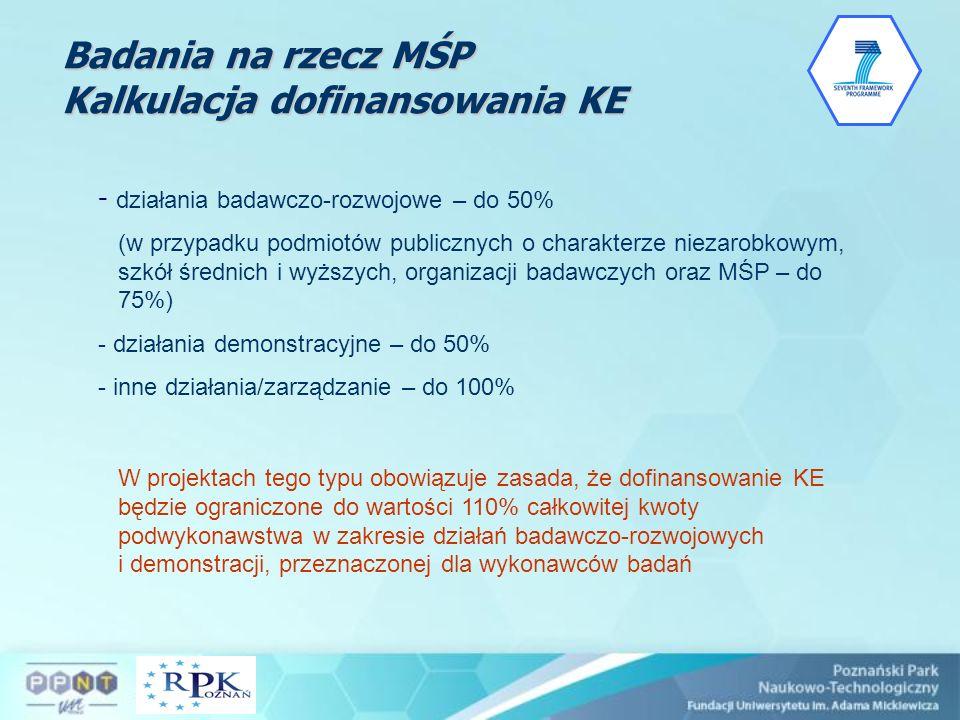 Badania na rzecz MŚP Kalkulacja dofinansowania KE - działania badawczo-rozwojowe – do 50% (w przypadku podmiotów publicznych o charakterze niezarobkow
