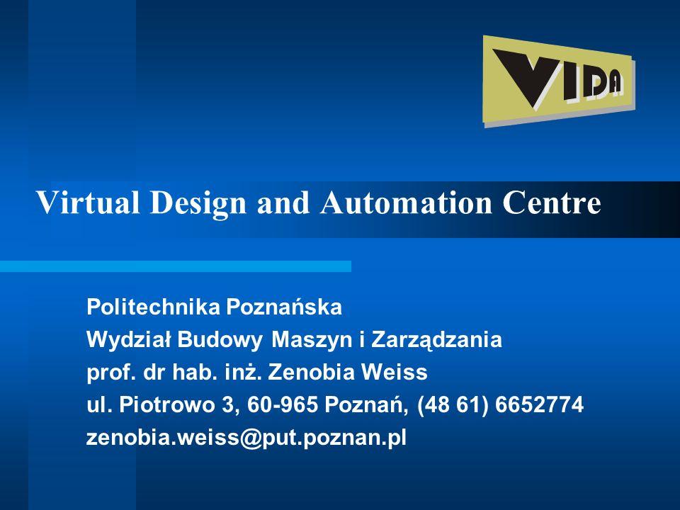 Virtual Design and Automation Centre Politechnika Poznańska Wydział Budowy Maszyn i Zarządzania prof. dr hab. inż. Zenobia Weiss ul. Piotrowo 3, 60-96