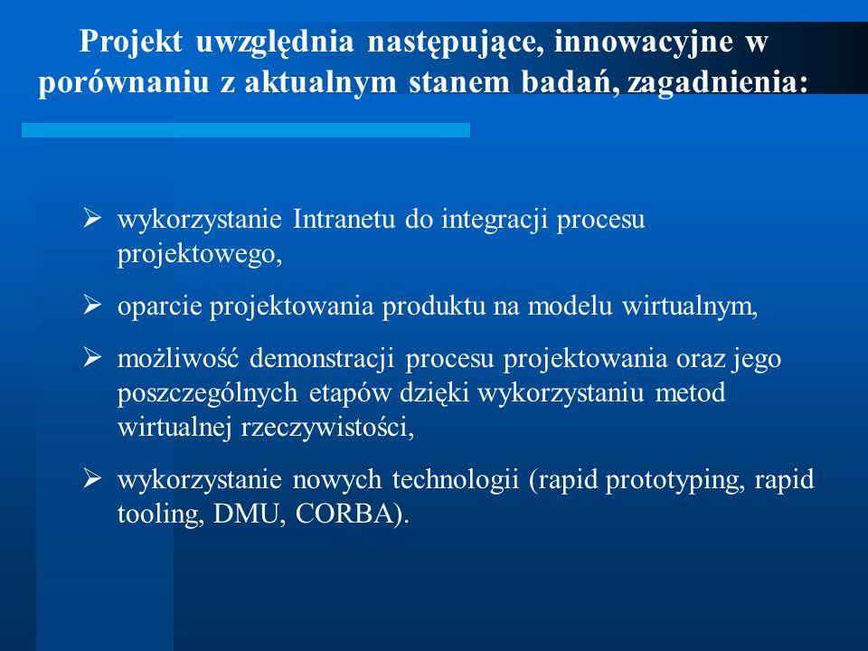 wykorzystanie Intranetu do integracji procesu projektowego, oparcie projektowania produktu na modelu wirtualnym, możliwość demonstracji procesu projek