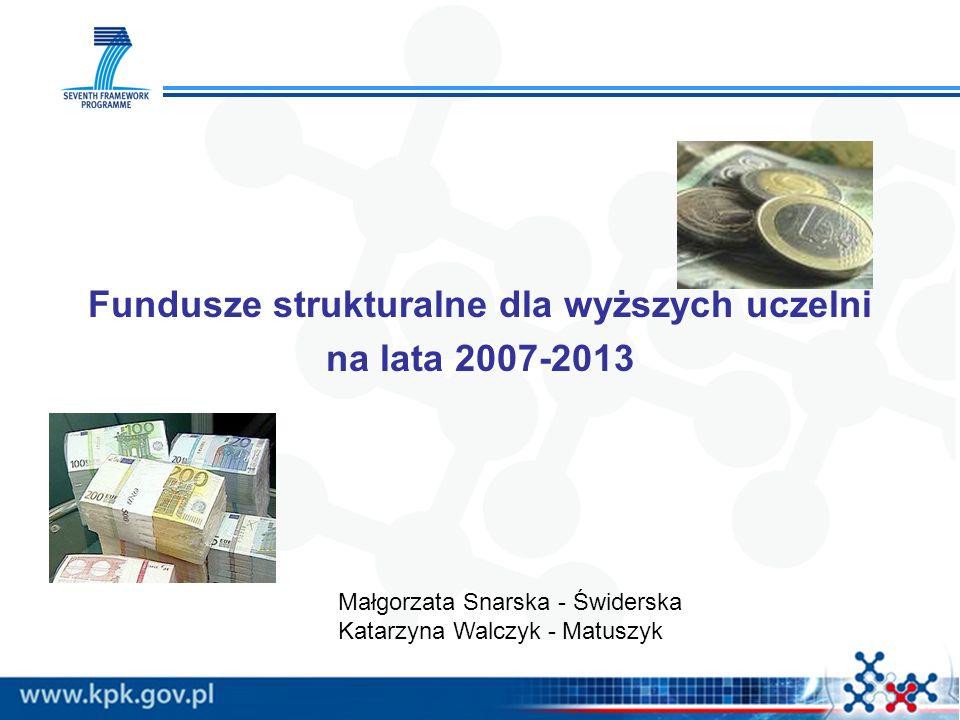 Fundusze strukturalne dla wyższych uczelni na lata 2007-2013 Małgorzata Snarska - Świderska Katarzyna Walczyk - Matuszyk