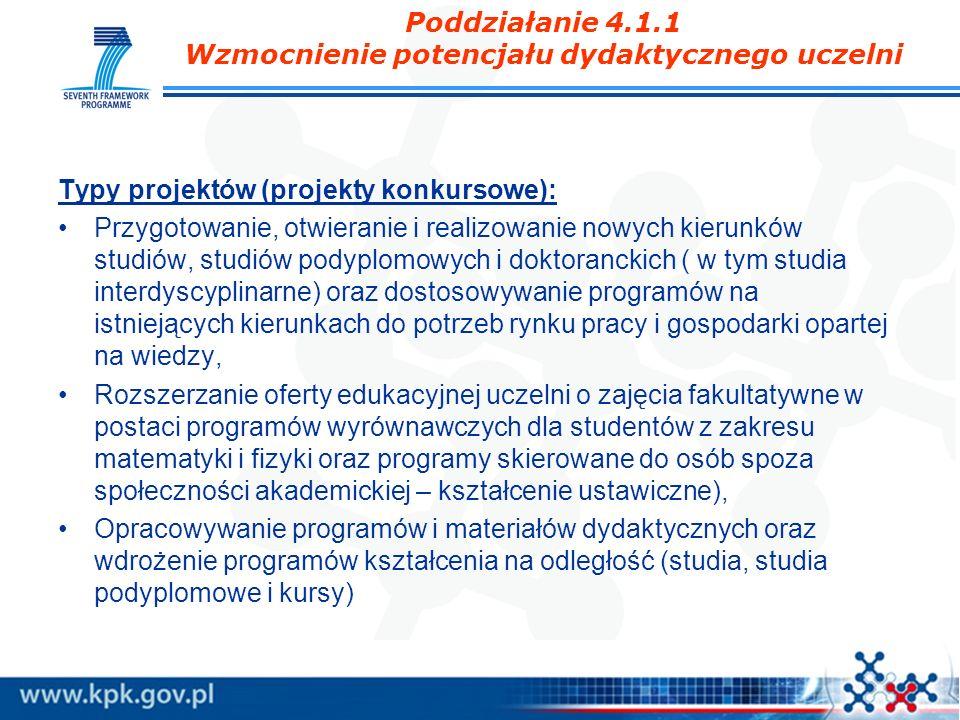 Poddziałanie 4.1.1 Wzmocnienie potencjału dydaktycznego uczelni Typy projektów (projekty konkursowe): Przygotowanie, otwieranie i realizowanie nowych