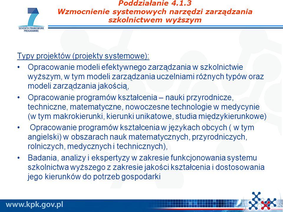 Poddziałanie 4.1.3 Wzmocnienie systemowych narzędzi zarządzania szkolnictwem wyższym Typy projektów (projekty systemowe): Opracowanie modeli efektywne