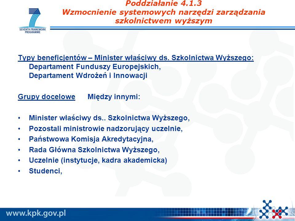 Poddziałanie 4.1.3 Wzmocnienie systemowych narzędzi zarządzania szkolnictwem wyższym Typy beneficjentów – Minister właściwy ds. Szkolnictwa Wyższego: