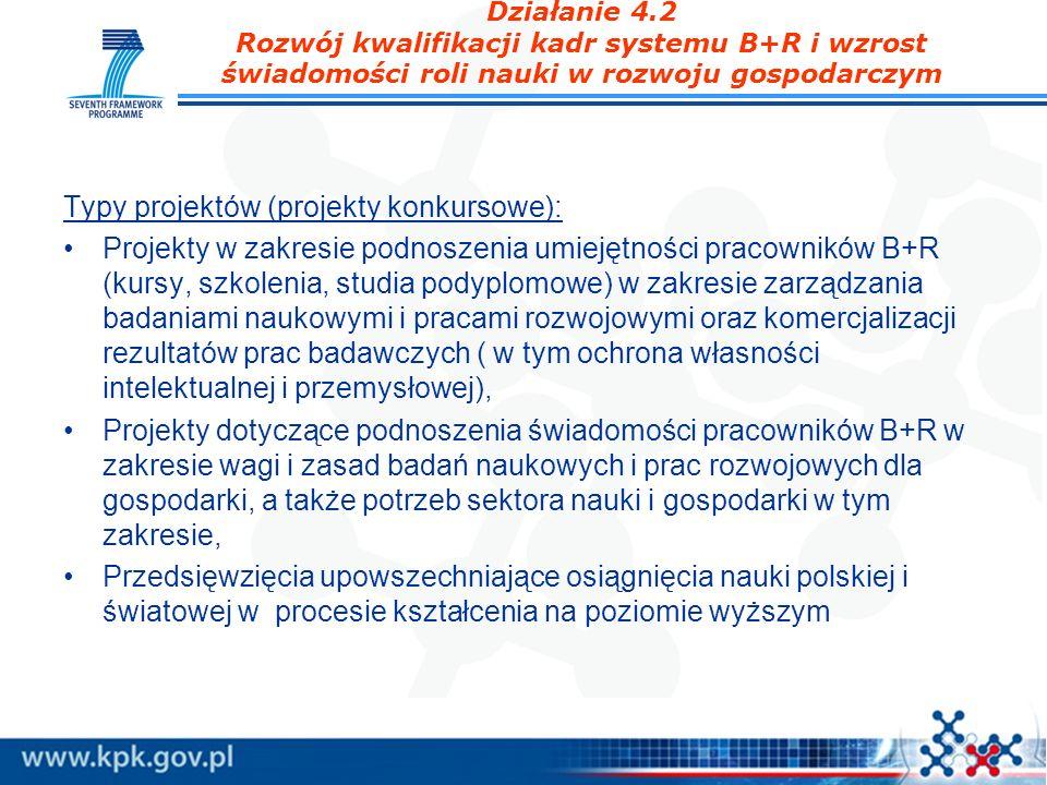 Działanie 4.2 Rozwój kwalifikacji kadr systemu B+R i wzrost świadomości roli nauki w rozwoju gospodarczym Typy projektów (projekty konkursowe): Projek