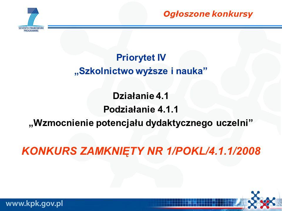 Priorytet IV Szkolnictwo wyższe i nauka Działanie 4.1 Podziałanie 4.1.1 Wzmocnienie potencjału dydaktycznego uczelni KONKURS ZAMKNIĘTY NR 1/POKL/4.1.1