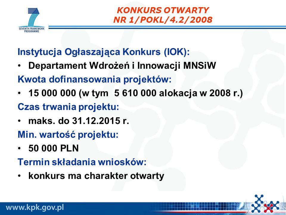 Instytucja Ogłaszająca Konkurs (IOK): Departament Wdrożeń i Innowacji MNSiW Kwota dofinansowania projektów: 15 000 000 (w tym 5 610 000 alokacja w 200