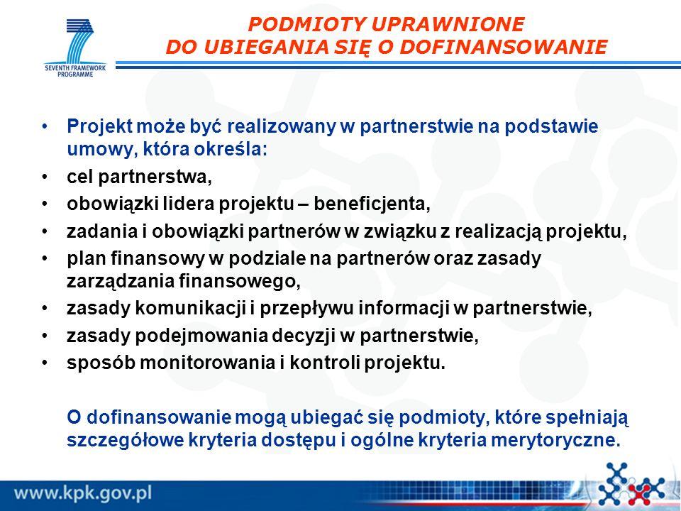 Projekt może być realizowany w partnerstwie na podstawie umowy, która określa: cel partnerstwa, obowiązki lidera projektu – beneficjenta, zadania i ob