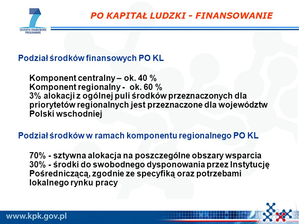 OGÓLNE KRYTERIA FORMALNE wniosek złożono we właściwej instytucji; wniosek wypełniono w języku polskim; wniosek sporządzono na obowiązującym formularzu; wniosek jest kompletny (strony, pieczęć, podpisy); suma kontrolna papierowej i elektronicznej wersji wniosku jest tożsama na wszystkich stronach wniosku; wypełniono wszystkie wymagane pola i złożono wszystkie załączniki; wniosek stanowi odpowiedź na konkurs; wnioskodawca nie podlega wykluczeniu z ubiegania się o dofinansowanie (art.