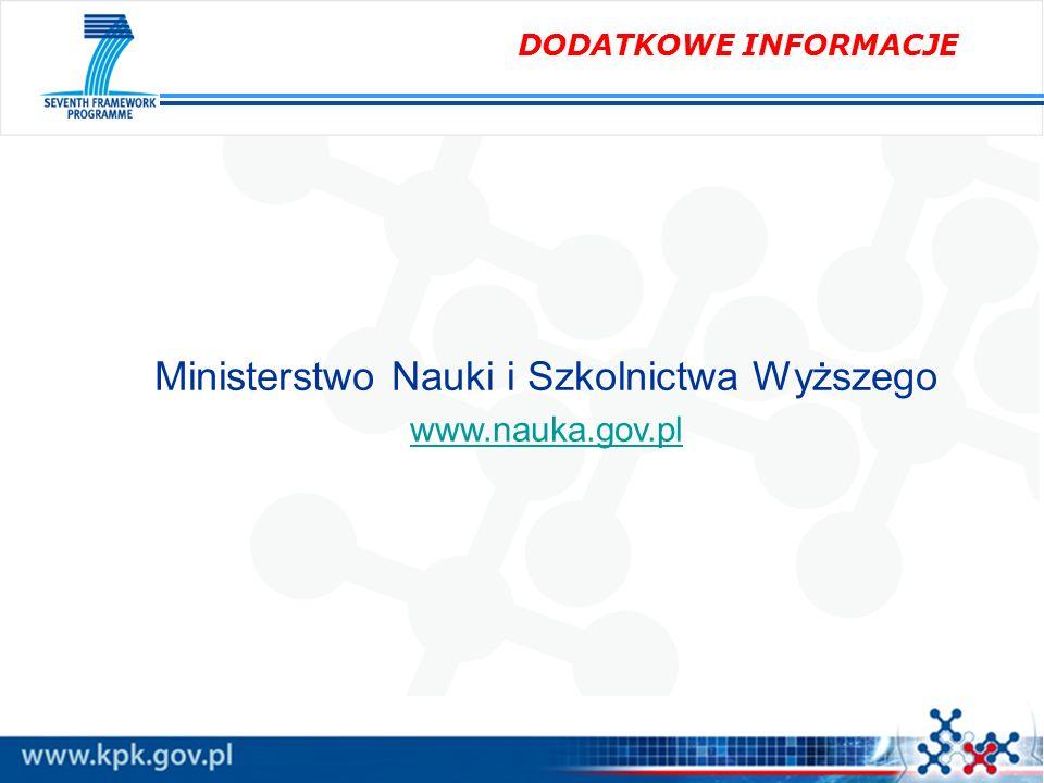 DODATKOWE INFORMACJE Ministerstwo Nauki i Szkolnictwa Wyższego www.nauka.gov.pl
