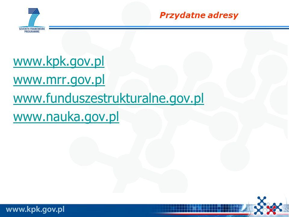 Przydatne adresy www.kpk.gov.pl www.mwww.mrr.gov.pl www.funduszestrukturalne.gov.pl www.nauka.gov.pl