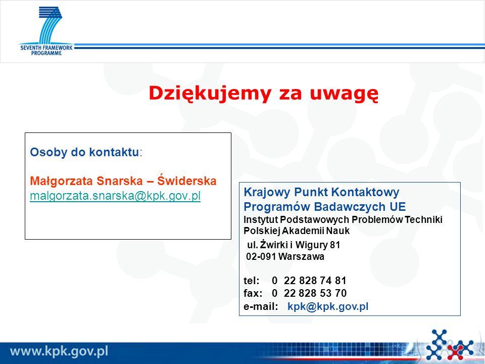 Dziękujemy za uwagę Krajowy Punkt Kontaktowy Programów Badawczych UE Instytut Podstawowych Problemów Techniki Polskiej Akademii Nauk ul. Żwirki i Wigu