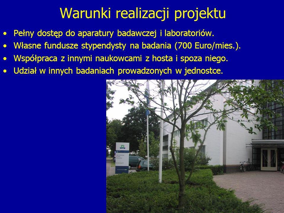 Warunki realizacji projektu Pełny dostęp do aparatury badawczej i laboratoriów.