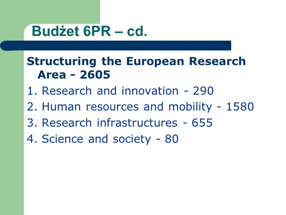 Budżet 6PR – cd.Non-nuclear activities of the Joint Research Centre – 760 NUCLEAR ENERGY 1.