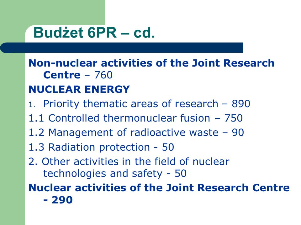 Budżet 6PR – cd. Non-nuclear activities of the Joint Research Centre – 760 NUCLEAR ENERGY 1.