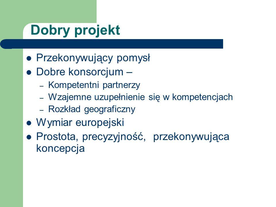 Dobry projekt Przekonywujący pomysł Dobre konsorcjum – – Kompetentni partnerzy – Wzajemne uzupełnienie się w kompetencjach – Rozkład geograficzny Wymi