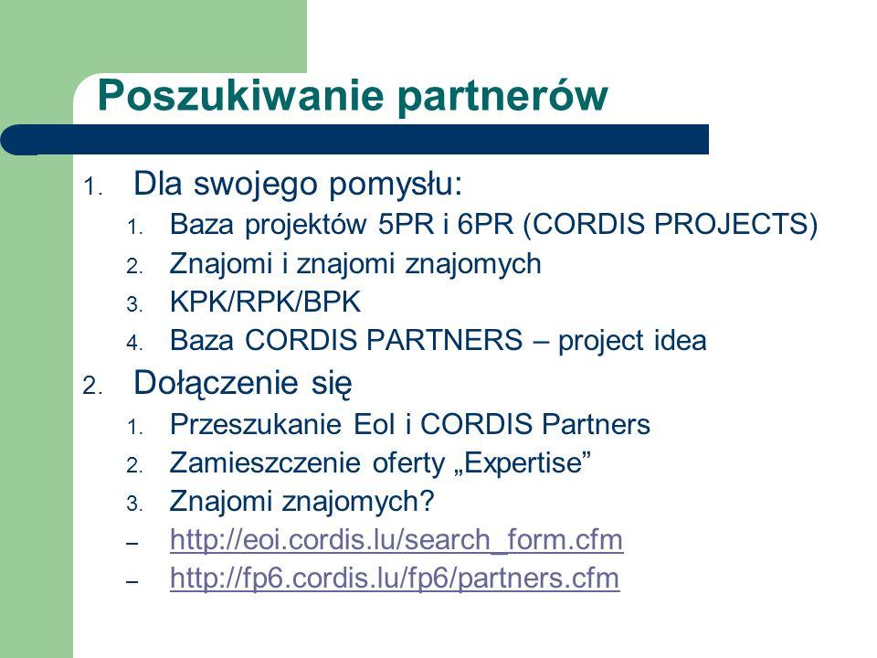 Poszukiwanie partnerów 1. Dla swojego pomysłu: 1. Baza projektów 5PR i 6PR (CORDIS PROJECTS) 2. Znajomi i znajomi znajomych 3. KPK/RPK/BPK 4. Baza COR
