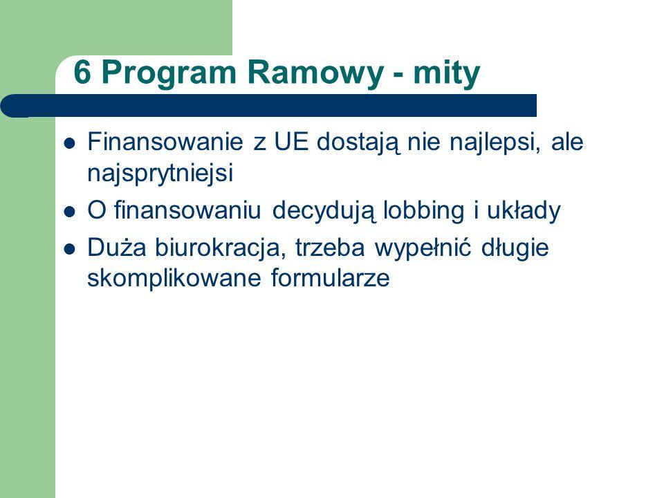 6 Program Ramowy - mity Finansowanie z UE dostają nie najlepsi, ale najsprytniejsi O finansowaniu decydują lobbing i układy Duża biurokracja, trzeba w