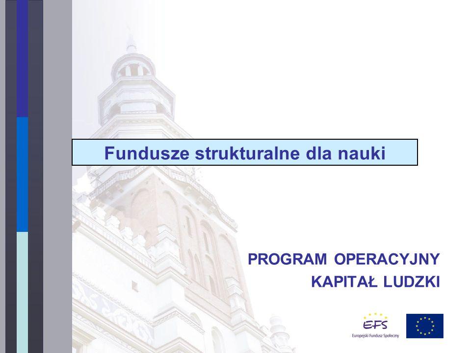 PROGRAM OPERACYJNY KAPITAŁ LUDZKI Fundusze strukturalne dla nauki