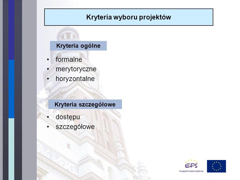 formalne merytoryczne horyzontalne dostępu szczegółowe Kryteria wyboru projektów Kryteria ogólne Kryteria szczegółowe