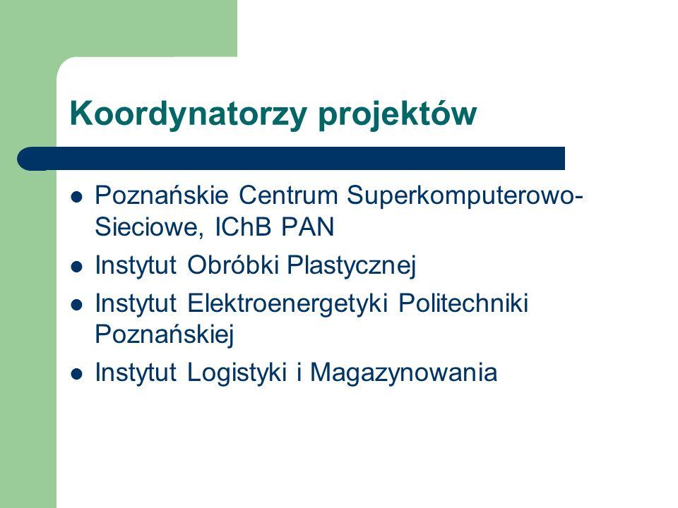 Koordynatorzy projektów Poznańskie Centrum Superkomputerowo- Sieciowe, IChB PAN Instytut Obróbki Plastycznej Instytut Elektroenergetyki Politechniki Poznańskiej Instytut Logistyki i Magazynowania