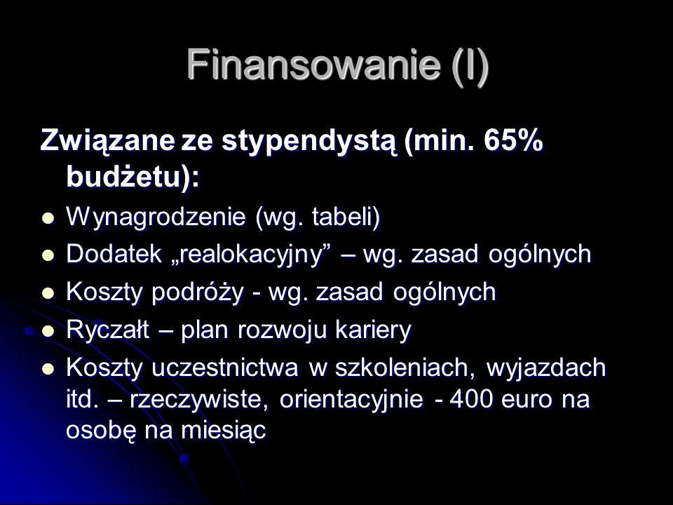 Finansowanie (I) Związane ze stypendystą (min. 65% budżetu): Wynagrodzenie (wg.