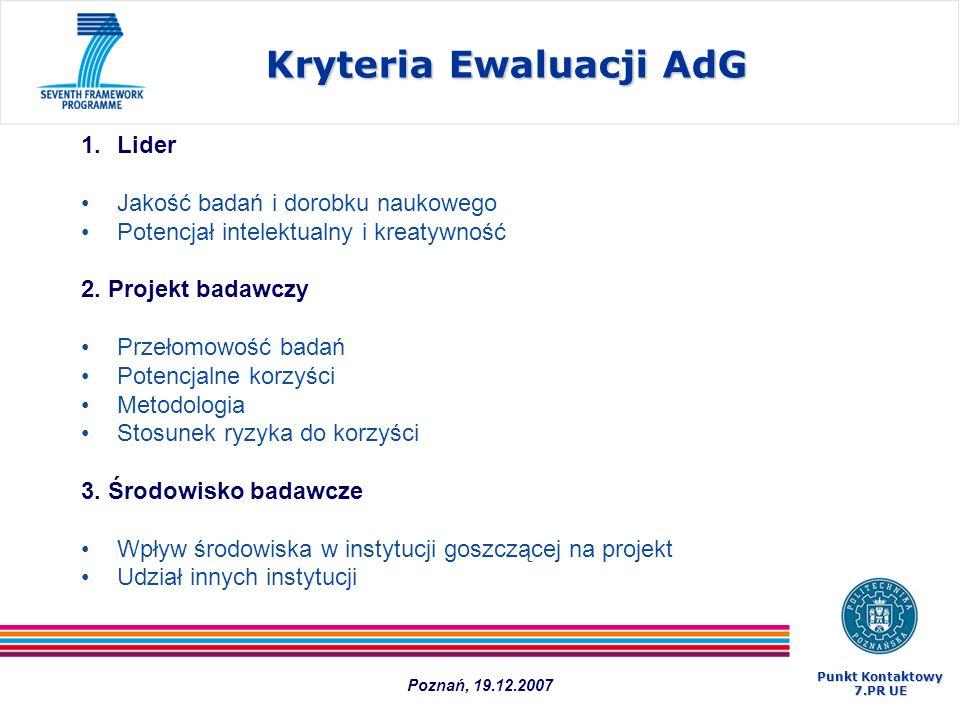 Kryteria Ewaluacji AdG 1.Lider Jakość badań i dorobku naukowego Potencjał intelektualny i kreatywność 2. Projekt badawczy Przełomowość badań Potencjal