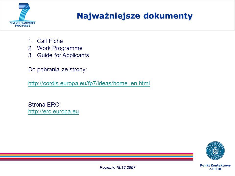Najważniejsze dokumenty 1.Call Fiche 2.Work Programme 3.Guide for Applicants Do pobrania ze strony: http://cordis.europa.eu/fp7/ideas/home_en.html Str