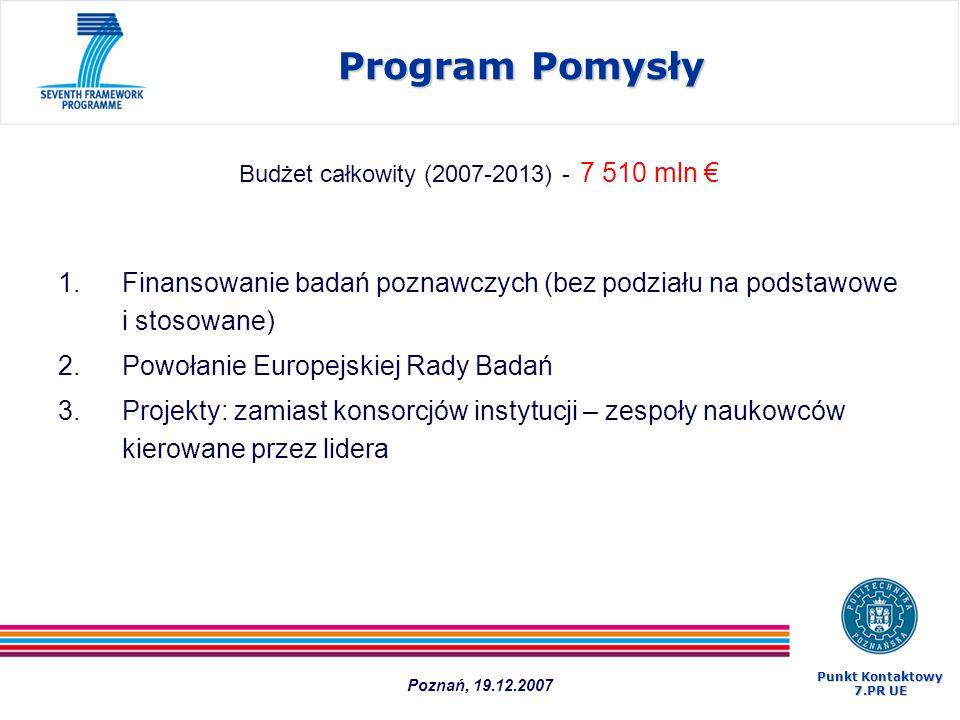 Program Pomysły 1.Finansowanie badań poznawczych (bez podziału na podstawowe i stosowane) 2.Powołanie Europejskiej Rady Badań 3.Projekty: zamiast kons
