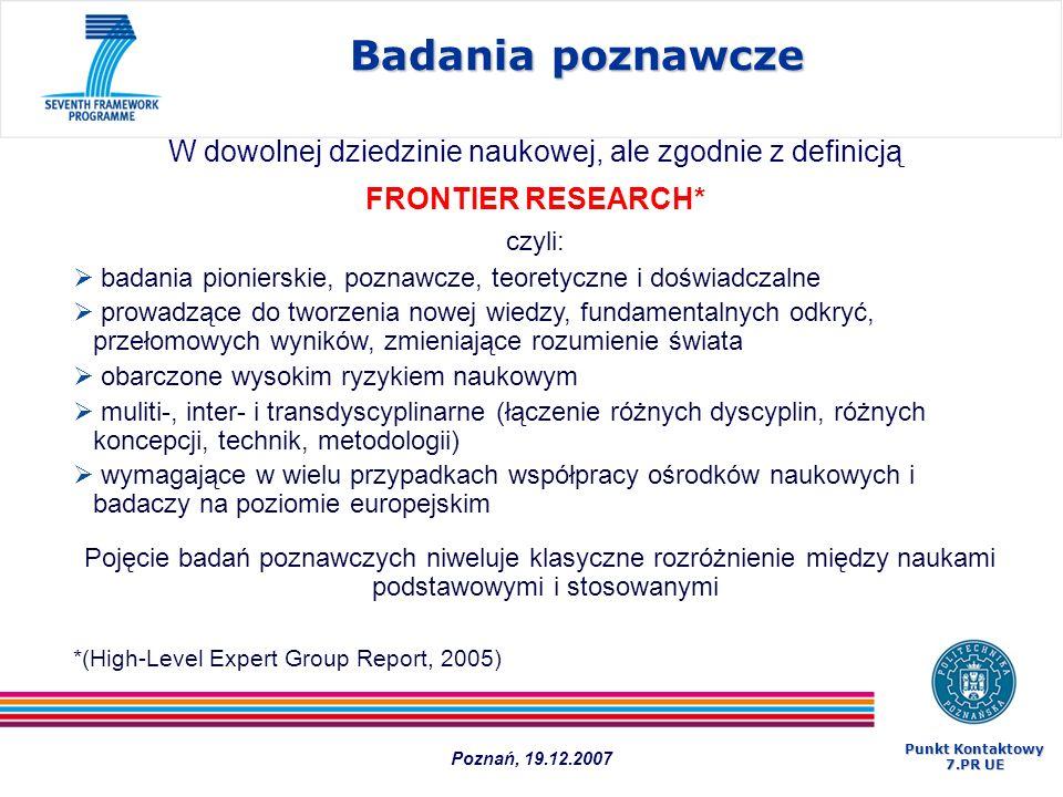 Najważniejsze dokumenty 1.Call Fiche 2.Work Programme 3.Guide for Applicants Do pobrania ze strony: http://cordis.europa.eu/fp7/ideas/home_en.html Strona ERC: http://erc.europa.eu Poznań, 19.12.2007 Punkt Kontaktowy 7.PR UE