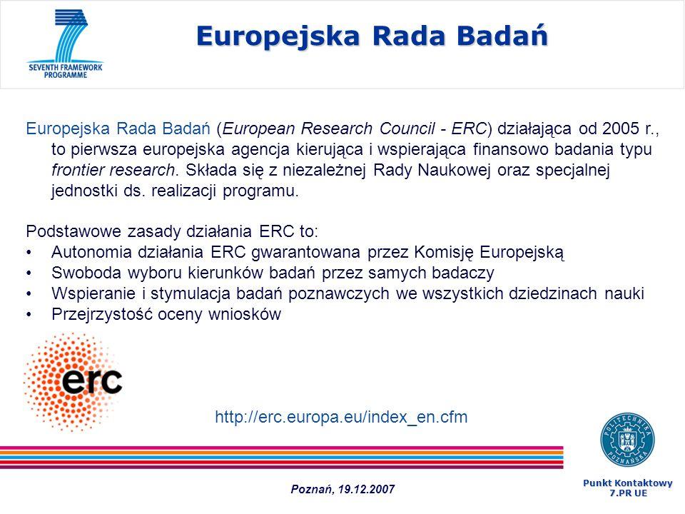 Europejska Rada Badań Europejska Rada Badań (European Research Council - ERC) działająca od 2005 r., to pierwsza europejska agencja kierująca i wspier