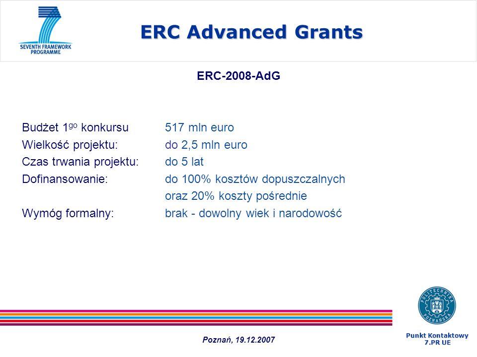 ERC-2008-AdG Budżet 1 go konkursu 517 mln euro Wielkość projektu: do 2,5 mln euro Czas trwania projektu: do 5 lat Dofinansowanie:do 100% kosztów dopus