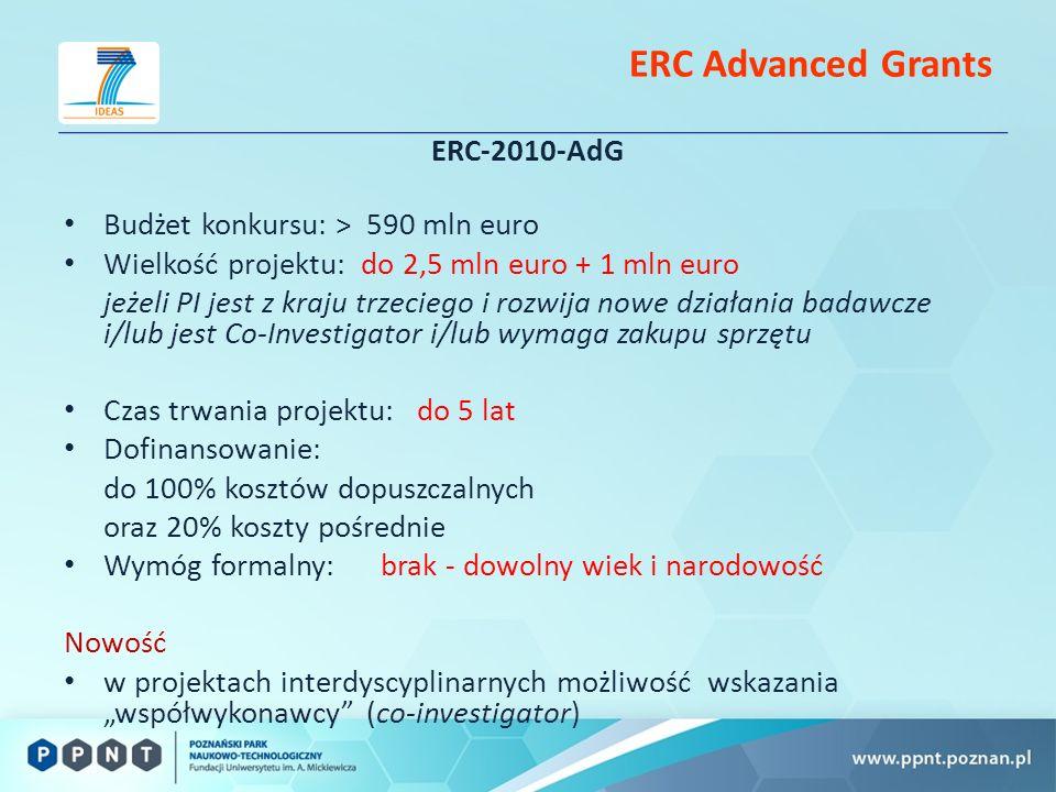 ERC Advanced Grants ERC-2010-AdG Budżet konkursu: > 590 mln euro Wielkość projektu: do 2,5 mln euro + 1 mln euro jeżeli PI jest z kraju trzeciego i rozwija nowe działania badawcze i/lub jest Co-Investigator i/lub wymaga zakupu sprzętu Czas trwania projektu: do 5 lat Dofinansowanie: do 100% kosztów dopuszczalnych oraz 20% koszty pośrednie Wymóg formalny: brak - dowolny wiek i narodowość Nowość w projektach interdyscyplinarnych możliwość wskazania współwykonawcy (co-investigator)