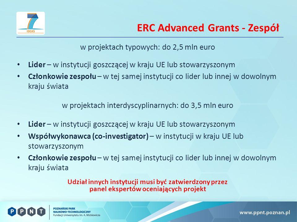 ERC Advanced Grants - Zespół w projektach typowych: do 2,5 mln euro Lider – w instytucji goszczącej w kraju UE lub stowarzyszonym Członkowie zespołu – w tej samej instytucji co lider lub innej w dowolnym kraju świata w projektach interdyscyplinarnych: do 3,5 mln euro Lider – w instytucji goszczącej w kraju UE lub stowarzyszonym Współwykonawca (co-investigator) – w instytucji w kraju UE lub stowarzyszonym Członkowie zespołu – w tej samej instytucji co lider lub innej w dowolnym kraju świata Udział innych instytucji musi być zatwierdzony przez panel ekspertów oceniających projekt