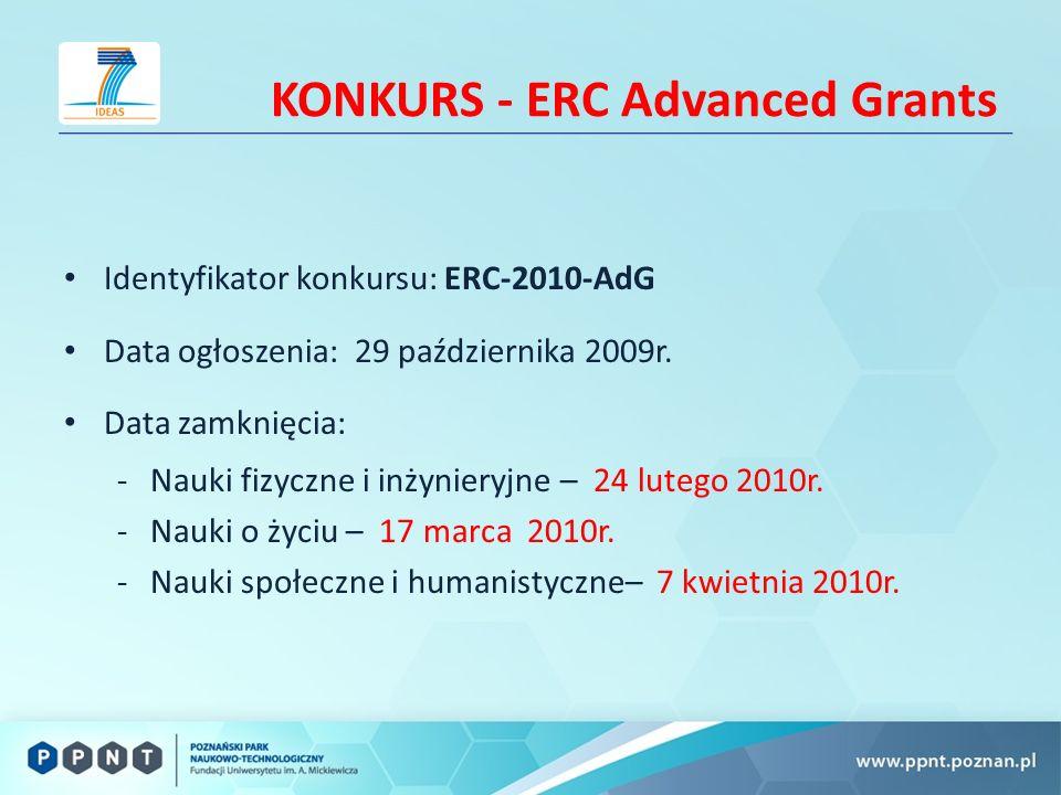 KONKURS - ERC Advanced Grants Identyfikator konkursu: ERC-2010-AdG Data ogłoszenia: 29 października 2009r.