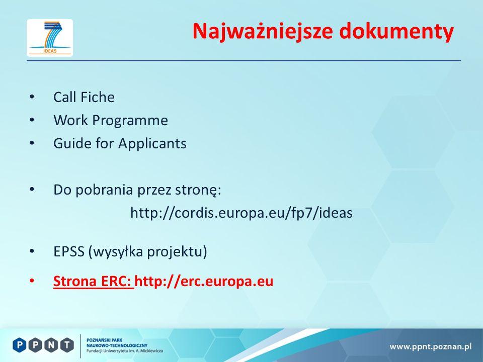 Najważniejsze dokumenty Call Fiche Work Programme Guide for Applicants Do pobrania przez stronę: http://cordis.europa.eu/fp7/ideas EPSS (wysyłka projektu) Strona ERC: http://erc.europa.eu