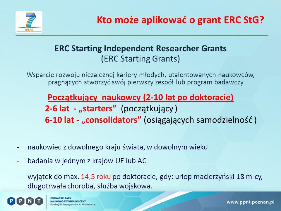 Kto może aplikować o grant ERC StG.