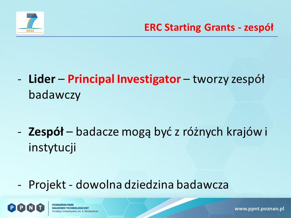 ERC Starting Grants - zespół -Lider – Principal Investigator – tworzy zespół badawczy -Zespół – badacze mogą być z różnych krajów i instytucji -Projekt - dowolna dziedzina badawcza