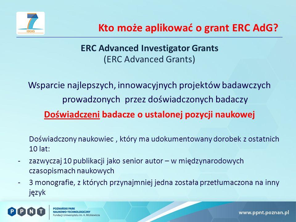 Kto może aplikować o grant ERC AdG.
