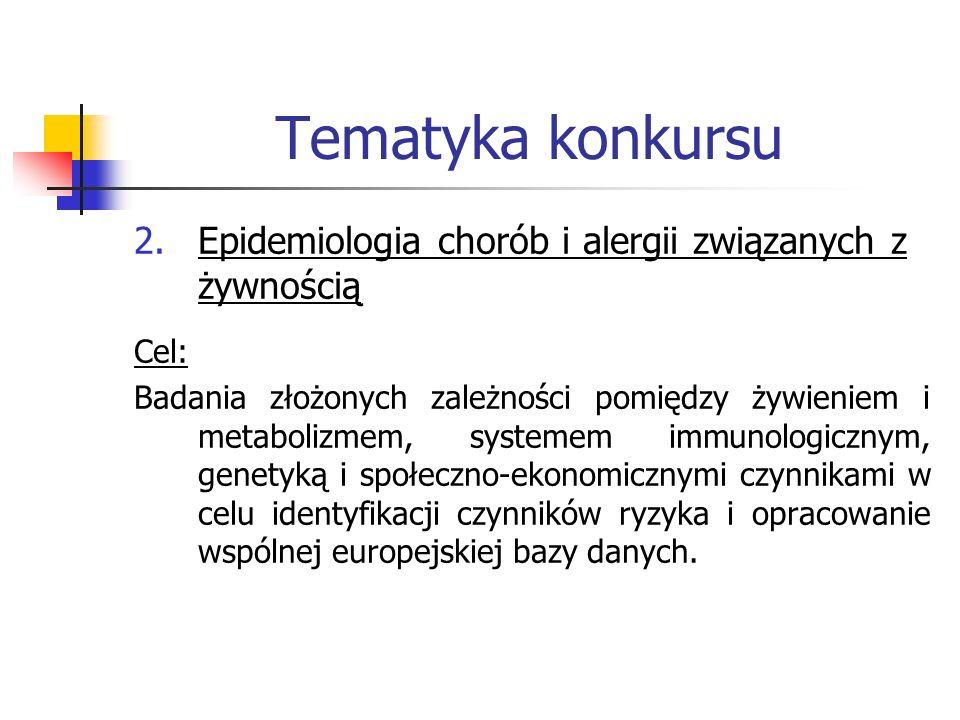 Tematyka konkursu 2.Epidemiologia chorób i alergii związanych z żywnością Cel: Badania złożonych zależności pomiędzy żywieniem i metabolizmem, systeme