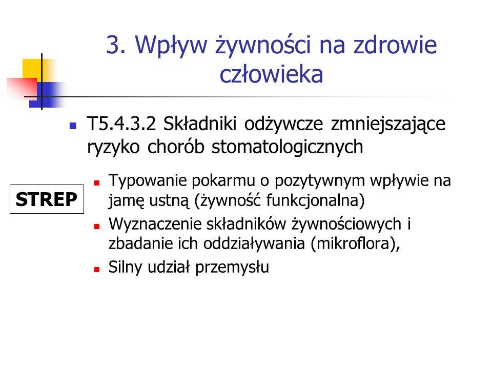 3. Wpływ żywności na zdrowie człowieka T5.4.3.2 Składniki odżywcze zmniejszające ryzyko chorób stomatologicznych Typowanie pokarmu o pozytywnym wpływi