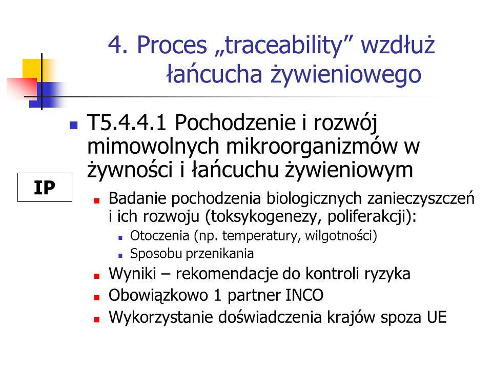 4. Proces traceability wzdłuż łańcucha żywieniowego T5.4.4.1 Pochodzenie i rozwój mimowolnych mikroorganizmów w żywności i łańcuchu żywieniowym Badani