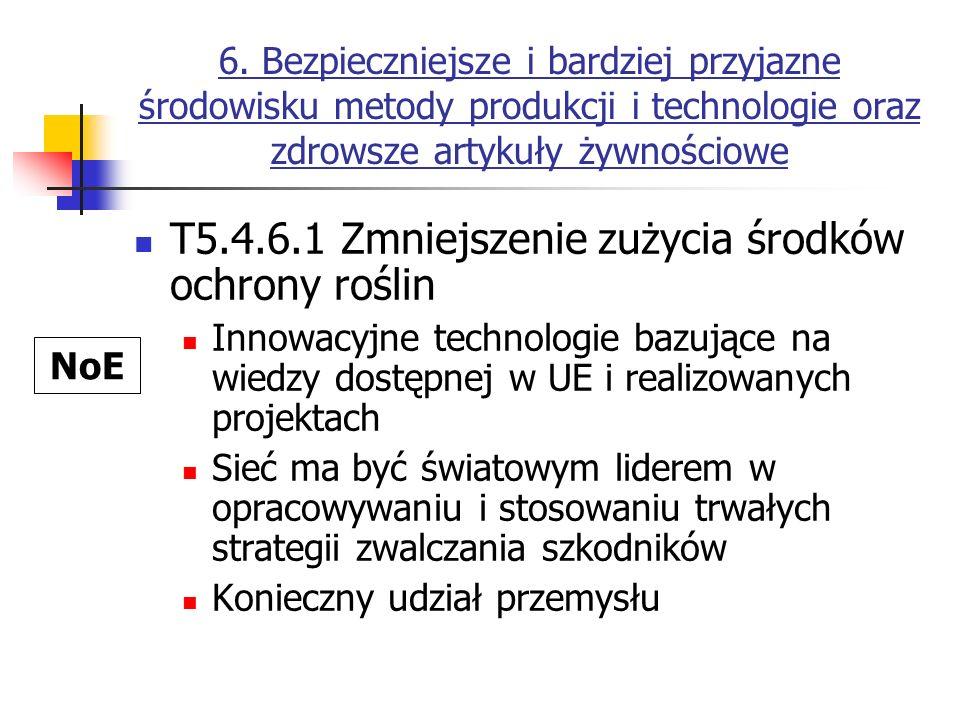 6. Bezpieczniejsze i bardziej przyjazne środowisku metody produkcji i technologie oraz zdrowsze artykuły żywnościowe T5.4.6.1 Zmniejszenie zużycia śro